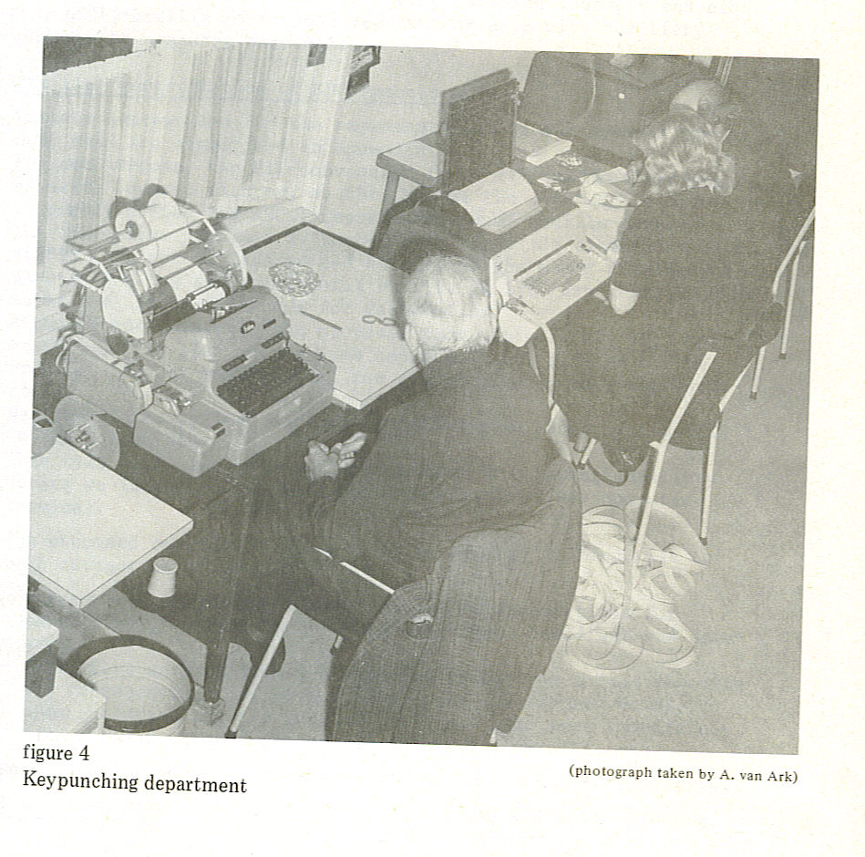 Old photo of one woman and two men working in the Keypunching Department at De Nederlandsche Blindenbibliotheek