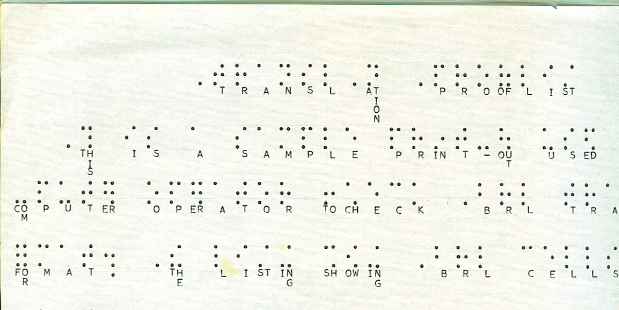 IBM 709 braille translation prooflist output from line printer: print interlined with simulated braille constructed from print period characters